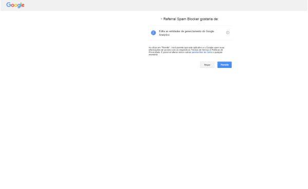 Referrer Spam Blocker - Tela de Autorização